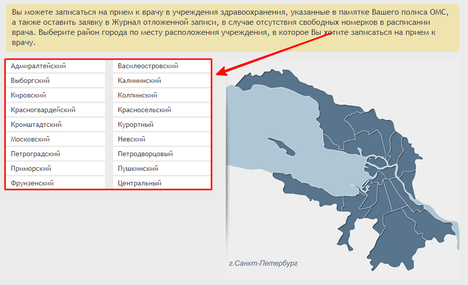 Перечень районов Санкт-Петербург