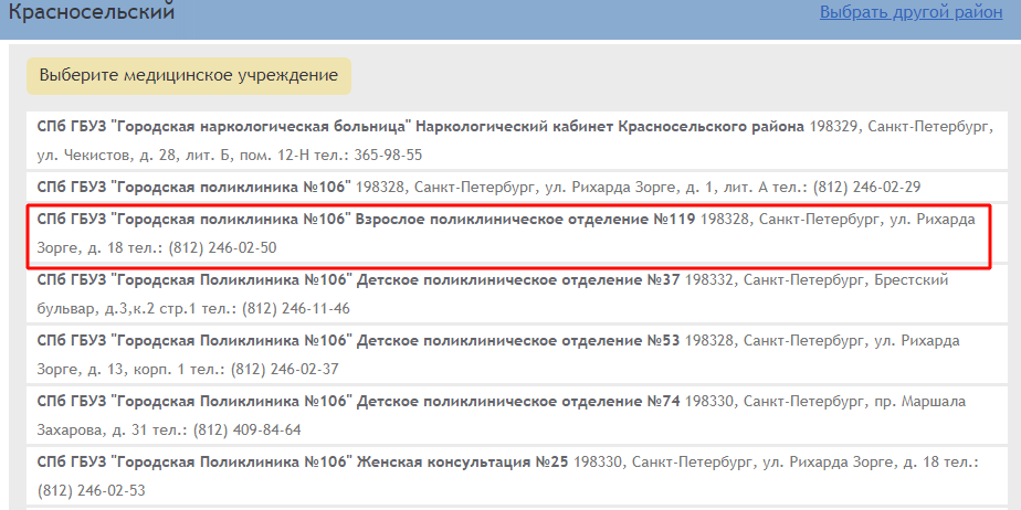 Список больниц района Красносельский